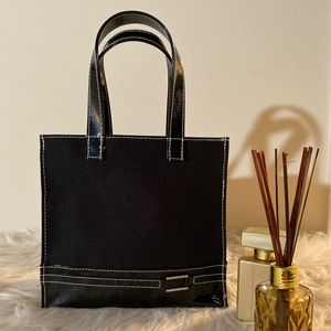 🍒CUTE SMALL BLACK  CANVAS AND PATENT BAG